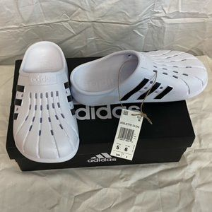 Adidas Clogs, New With Tag, White and black, mens size 5, women's size 6